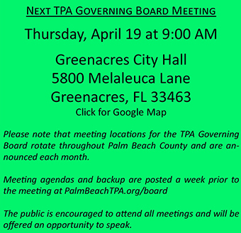 TPA Board Meeting Announcement - April 19, 2018