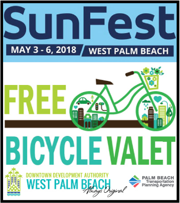 SunFest Free Bike Valet May 3-6, 2018