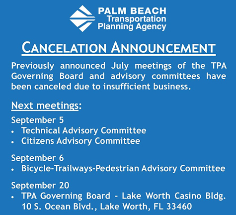 July Meeting Cancelations