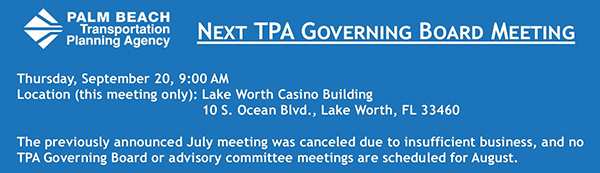 Next TPA Governing Board Meeting Sep. 20, 2018