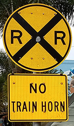 No Train Horn Sign at Railroad Crossing