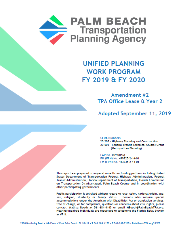 UPWP FY 2019 & 2020