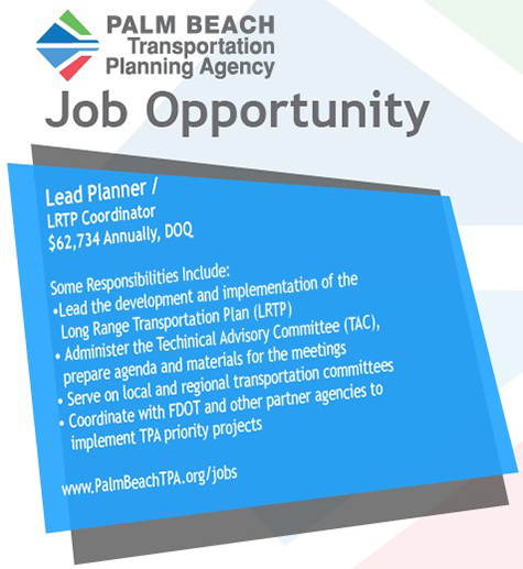 Palm Beach TPA Job Opportunity - Lead Planner - LRTP Coordinator
