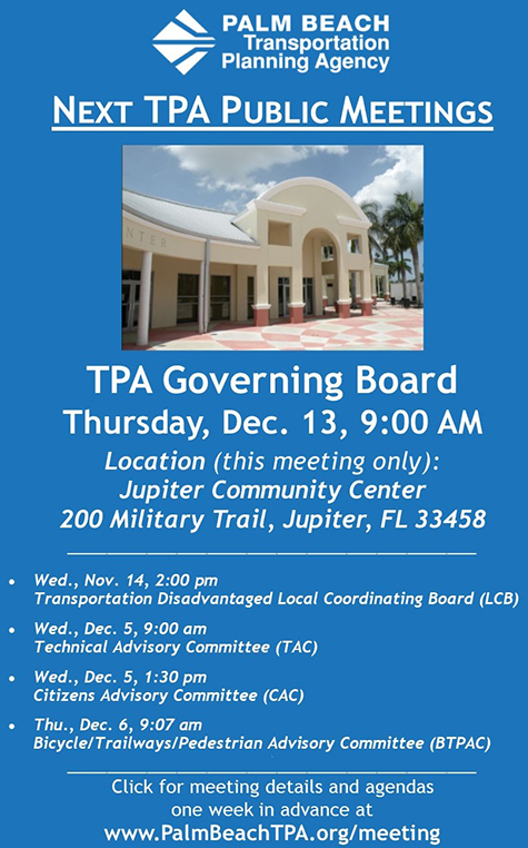 TPA Public Meetings Nov.-Dec. 2018