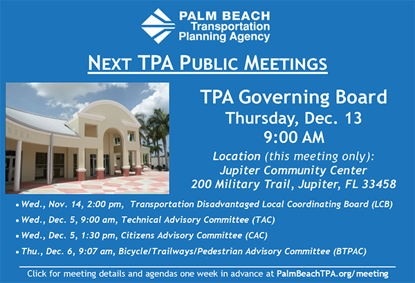 TPA Public Meetings - Nov. & Dec. 2018