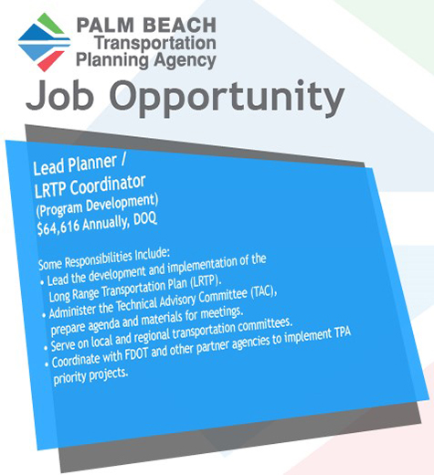 TPA Job Opportunity: Lead Planner - LRTP Coordinator