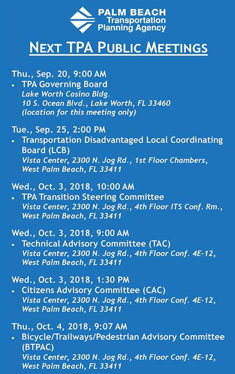 Next TPA Public Meetings