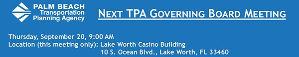 Next TPA Governing Board meeting - Sep. 20, 2018