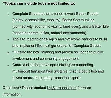 Speaker topics - Safe Streets Summit, Feb. 7, 2019