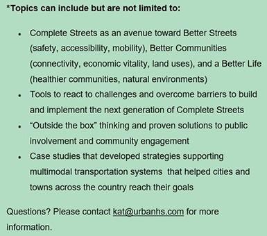 Speaker topics - Safe Streets Summit, Feb. 7, 2019