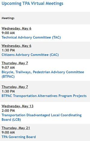 TPA Virtual Meetings in May 2020