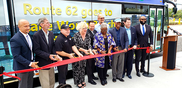 Officials from Palm Beach County, Palm Tran and the City of Lake Worth Beach celebrate the extension of bus route 62 at a ceremony held 1/10/2020