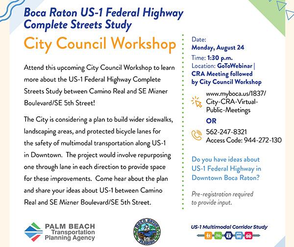 Announcement of Boca Raton City Council Workshop, 8/24/2020