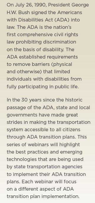 ADA 30th Anniversary-Webinars on Transition Plans
